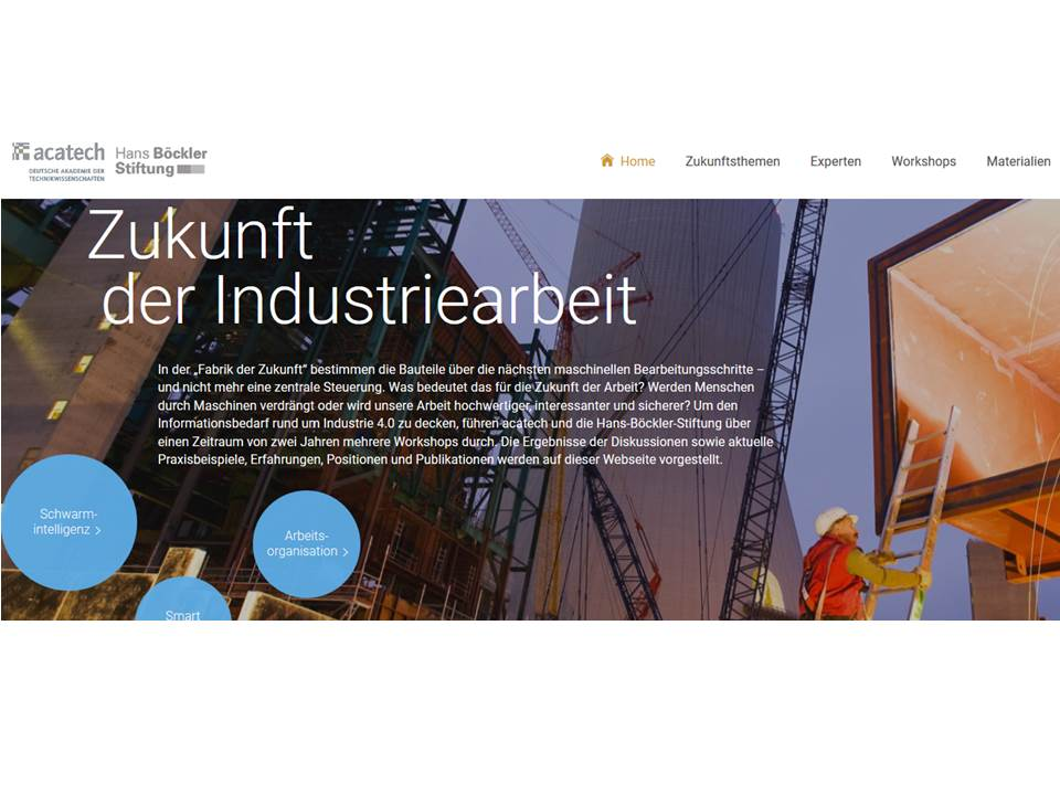 Screenshot der Projektwebsite.