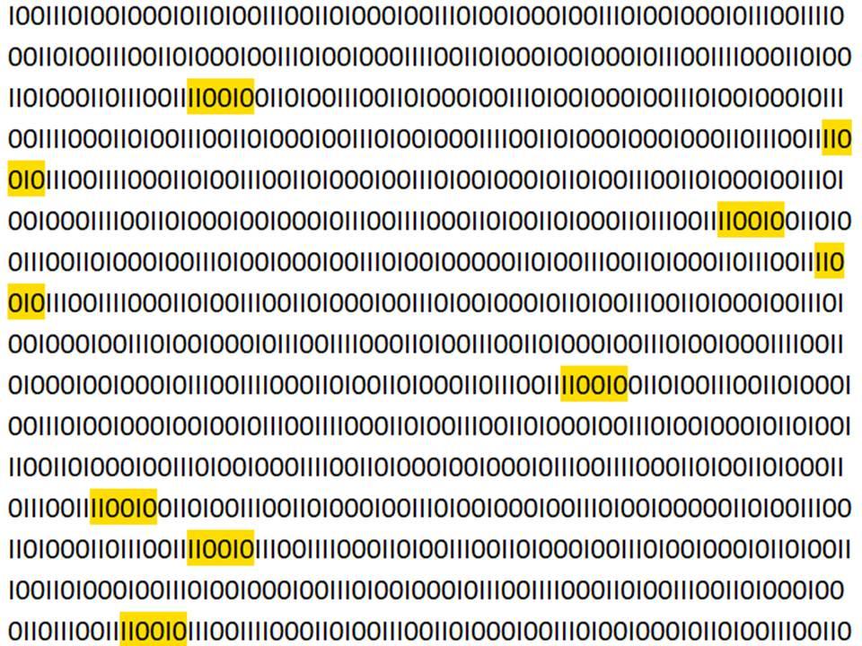 Binärsystem mit stellenweise markierten Sequenzen.