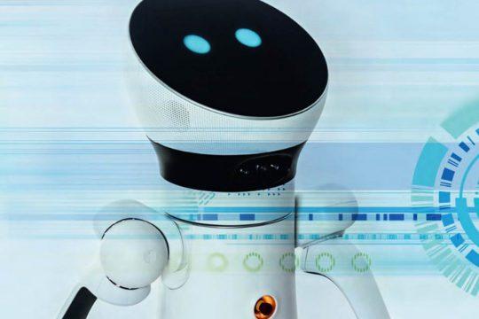 Ein Roboter wird von abstrakten Formen überlagert.