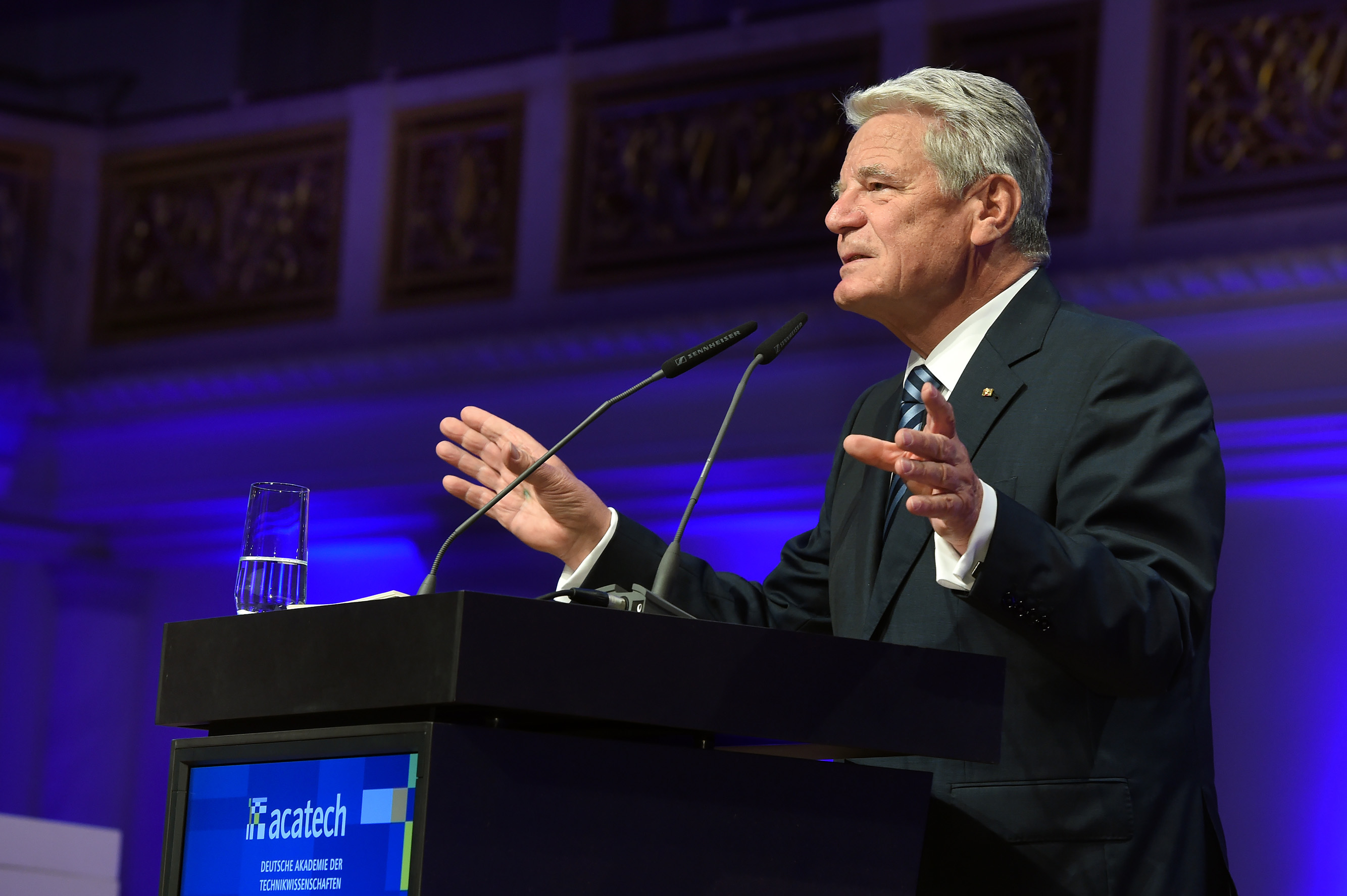 Bundespräsident a.D. Joachim Gauck spricht auf der acatech Festveranstaltung.