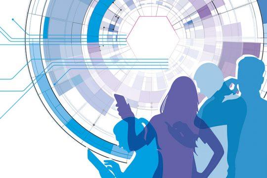 Techniknutzende Menschen vor abstrakter Grafik als Projektlogo.