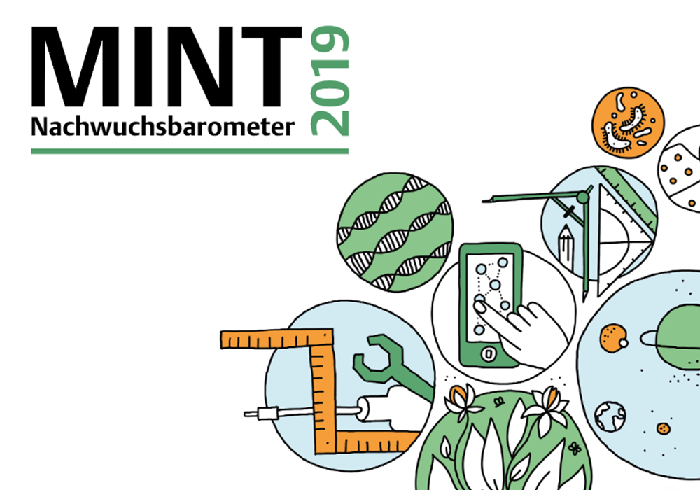 Graphische Kollage MINT-bezogener Tätigkeiten als Logo des Projekts.