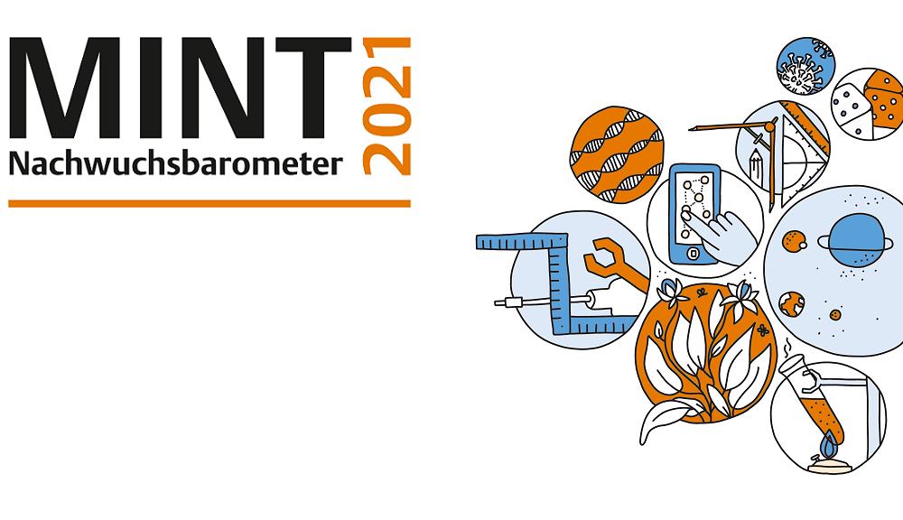 Cover MINT Nachwuchsbarometer 2021 mit diversen Zeichnungen
