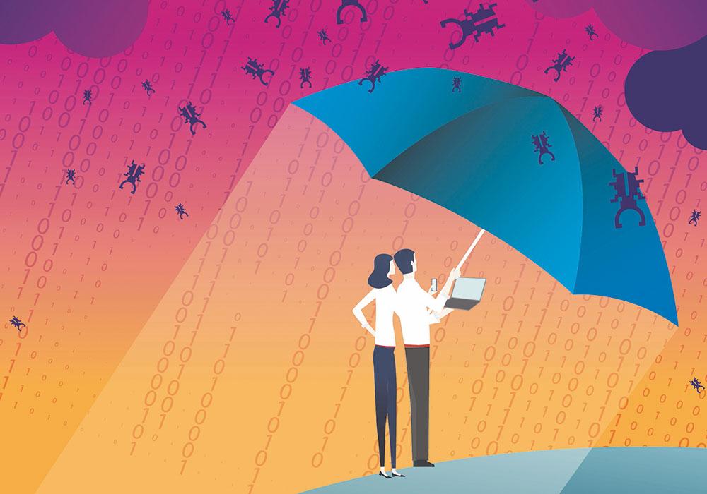 Grafik von zwei Menschen, die sich mit einem Sicherheitsschirm vor herabregnenden Viren schützen.