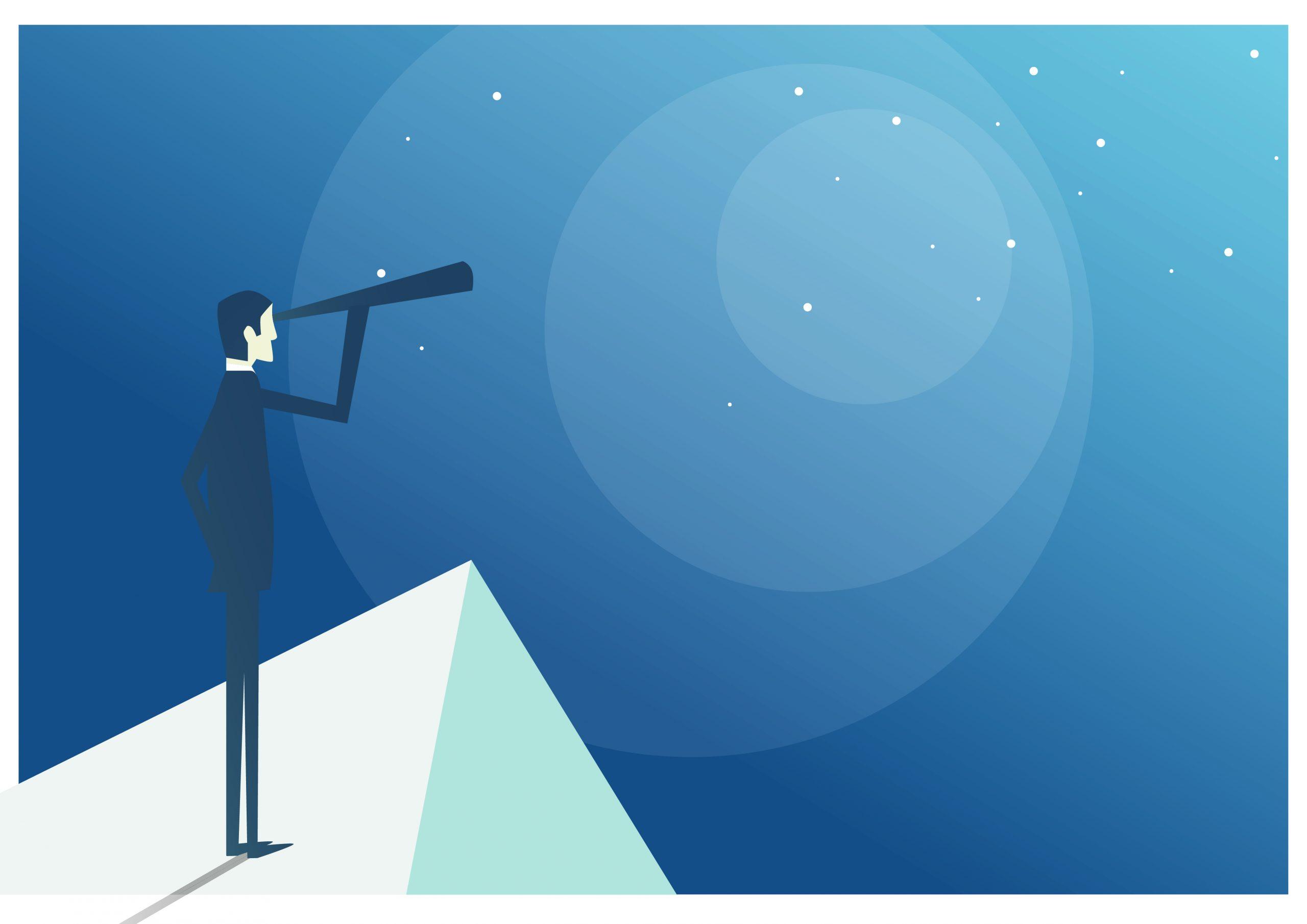 grafische Darstellung von Mann, der mit Fernrohr von einem Berg in den blauen Horizont schaut
