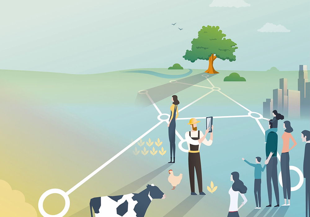 Graphische Darstellung einer vernetzten und digitalen Bauernhofes.
