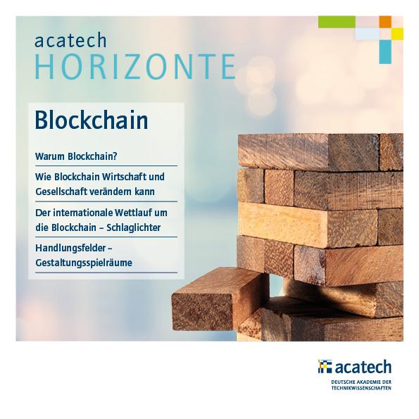 Titelgrafik der HORIZONTE Publikation Blockchain mit Holzwürfeln