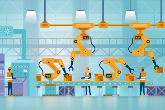 Graphische Darstellung einer digitalen Fabrik mit Laufband, Beschäftigten und Robotern.
