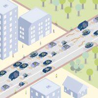 Verkehr mit digitaler dynamischer Verkehrsbeschilderung