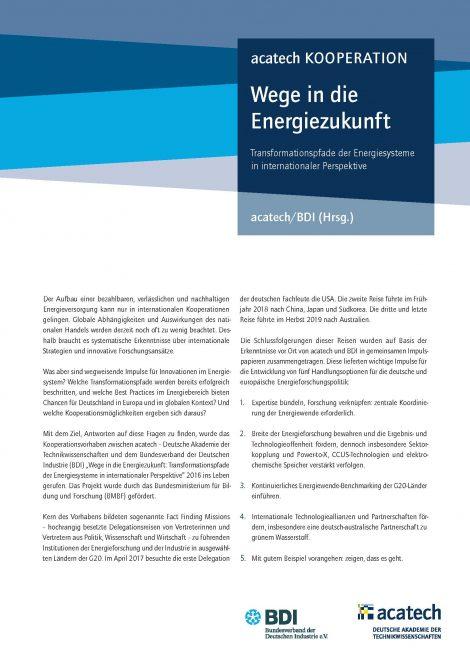 """Titelbild der Publikation """"Wege in die Energiezukunft"""""""