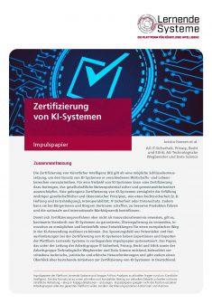 """Titelbild der Publikation """"Zertifizierung von KI-Systemen"""""""