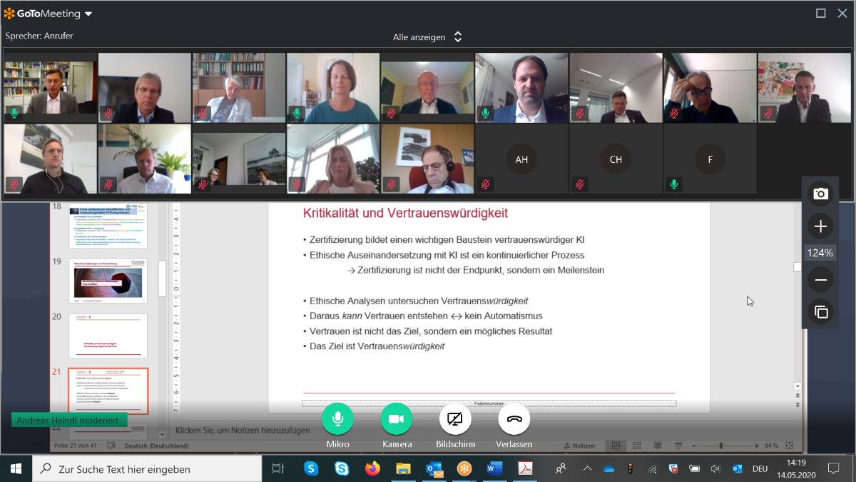 Screenshot Sitzung Lenkungskreis der Plattform Lernende Systeme