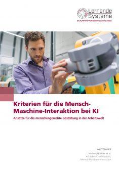 """Titelbild der Publikation """"Kriterien für die Mensch-Maschine-Interaktion bei KI"""""""