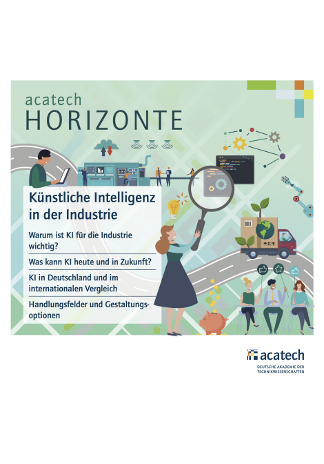 """Titelbild der Publikation """"acatech HORIZONTE: KI in der Industrie"""""""