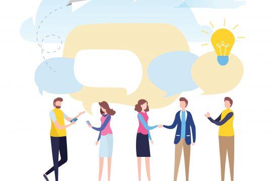 Zeichnung zwischenmenschlicher Ideenaustausch