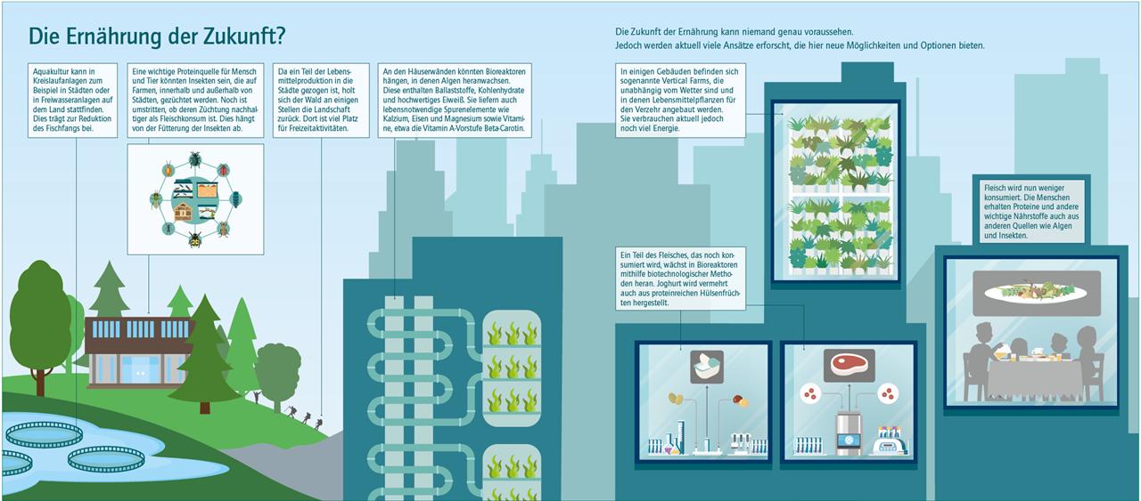 Grafik, die Aspekte der Ernährung der Zukunft darstellt
