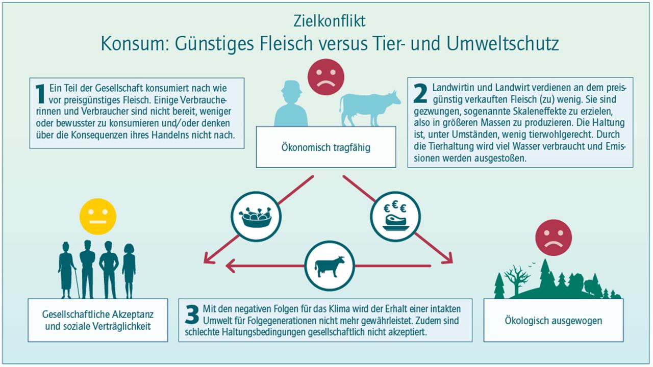 Grafik, die Zielkonflikt bei Fleisch- versus Tier- und Umweltschutz darstellt