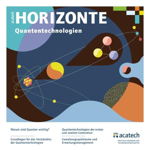 Titelgrafik HORIZONTE Publikation Quantentechnologien mit abstrahierten Atomen, Quanten, Umlaufbahnen