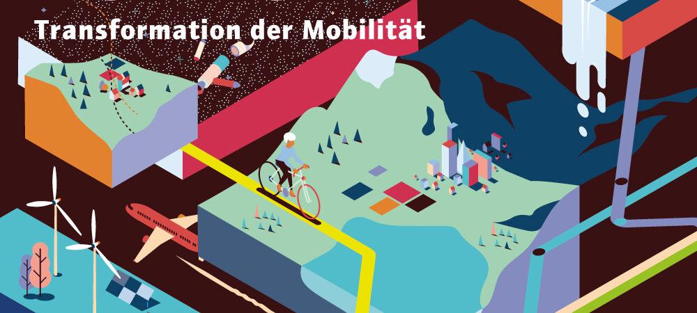Titelgrafik der Publikation acatech HORIZONTE Mobilitätmit abstrakten Darstellungen von Landschaft und Fahrzeugen