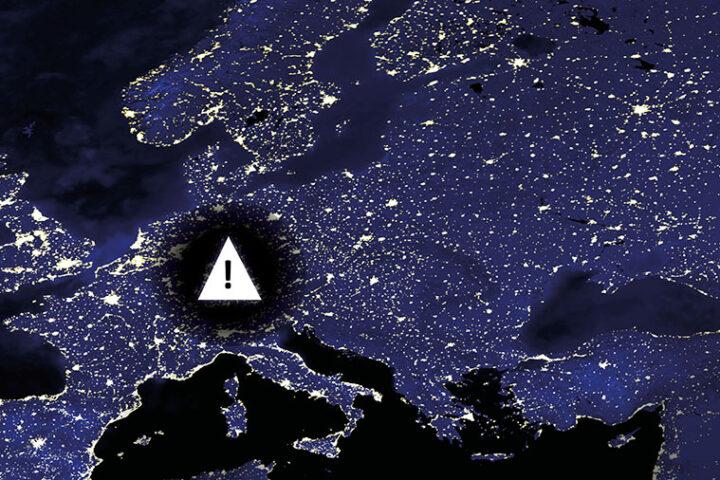 Grafik einer leuchtenden Weltkarte, Warnschild mit Ausrufezeichen über Zentraleuropa