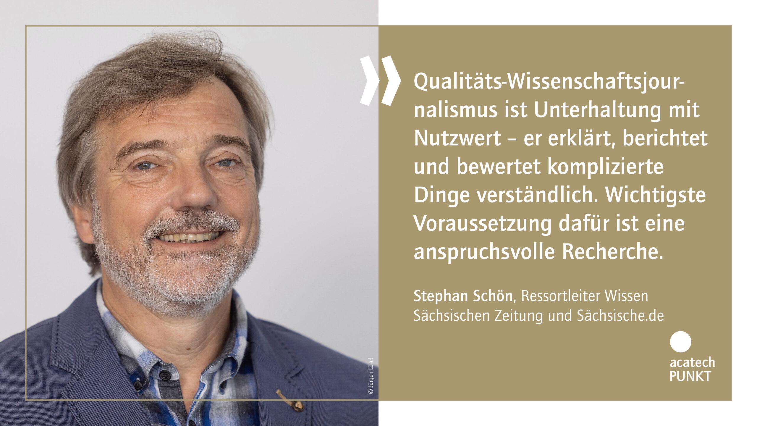 Zitatkarte mit Portraitbild Stephan Schön, Sächsische Zeitung