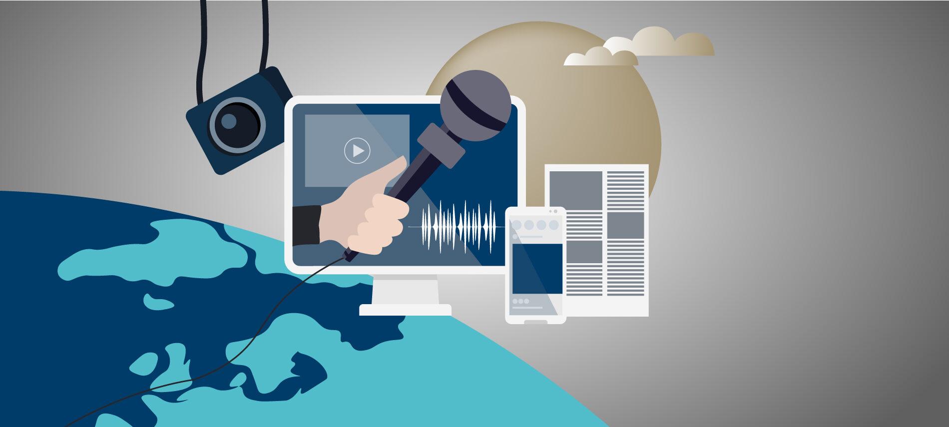 Grafik mit Monitor, Mikrofon, Kamera und Smartphone