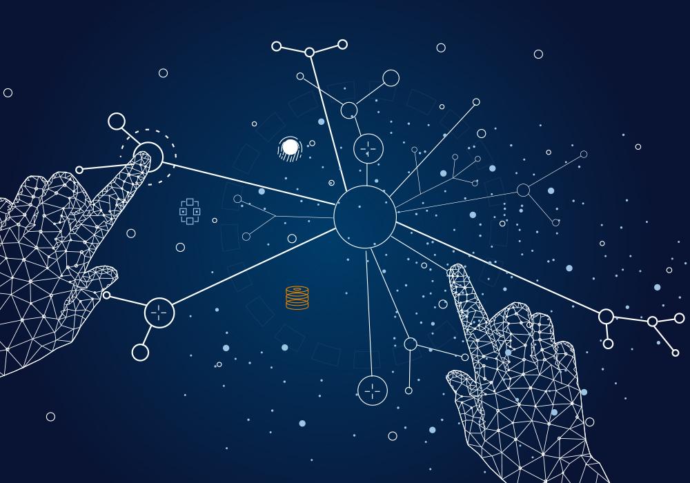 Grafik digitale Souveränität, vernetzte Hände