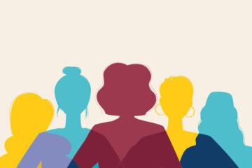 acatech Grafik Welttfrauentag mit bunten Silhouetten von Frauenköpfen