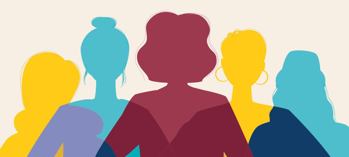 Grafik mit farbigen Frauensilhouetten