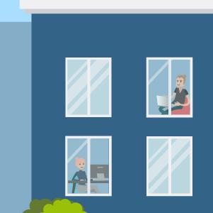 Mitarbeiter sitzen im Homeoffice am Fenster