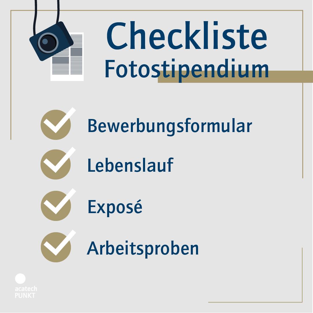 Checkliste Bewerbung Fotostipendium