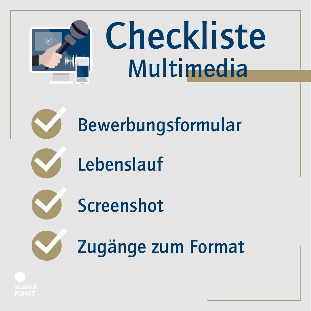 Checkliste Bewerbung Multimedia