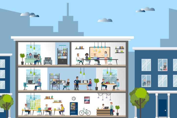 Querschnitt durch ein Bürogebäude mit Arbeitsplätzen und Mitarbeiterinnen
