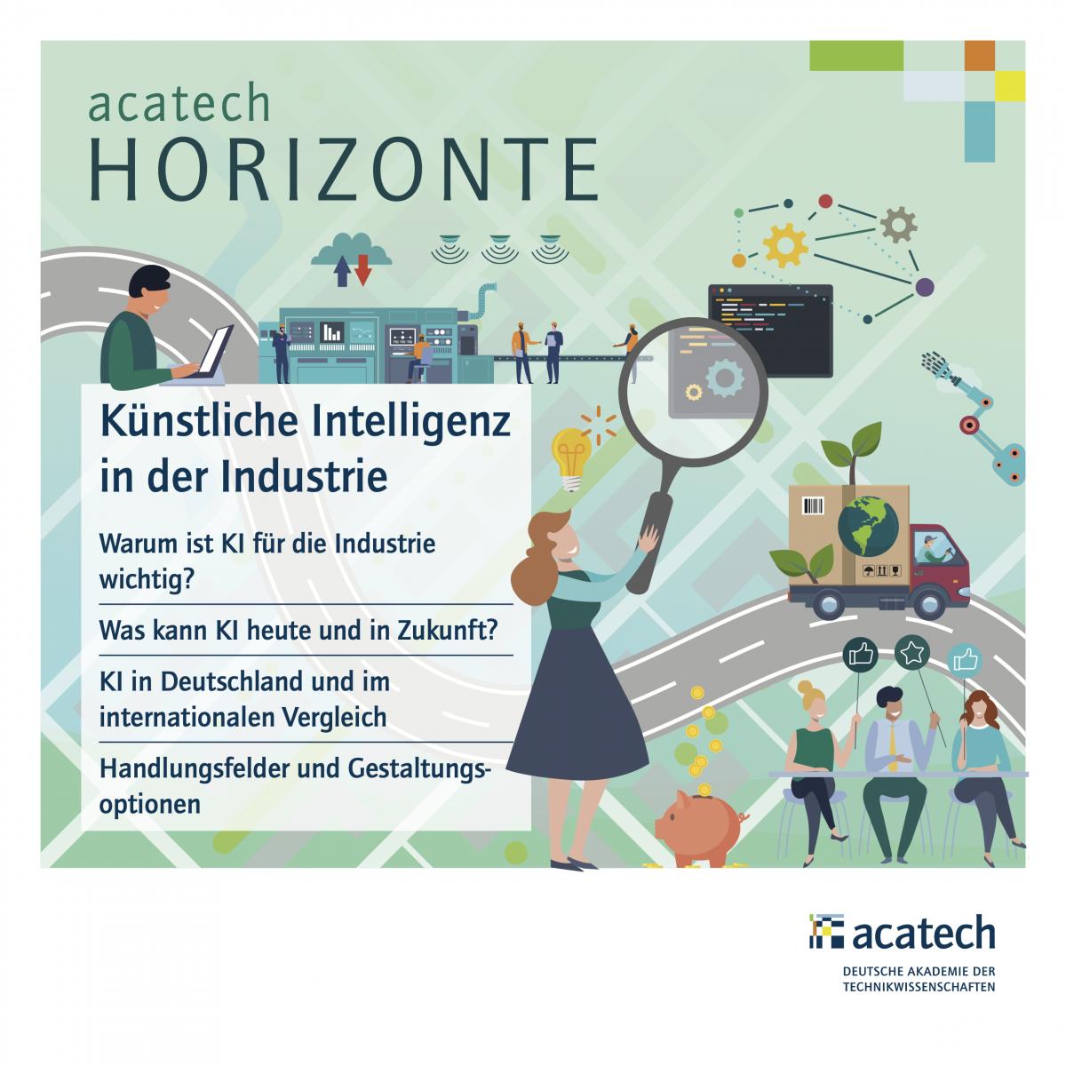 Titelgrafik der HORIZONTE Publikation Künstliche Intelligenz in der Industrie mit abstrahierten Personen, Fahrzeugen, Produktionsanlagen