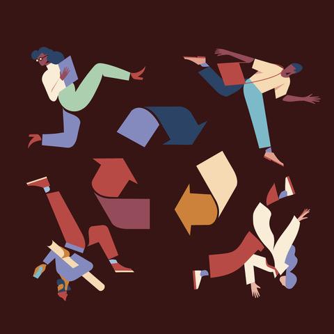 Urban Mining Grafik zum Zusammenspiel der Gesellschaft mit Zeichen für Recycling mit abstrakter Darstellung ier Personen