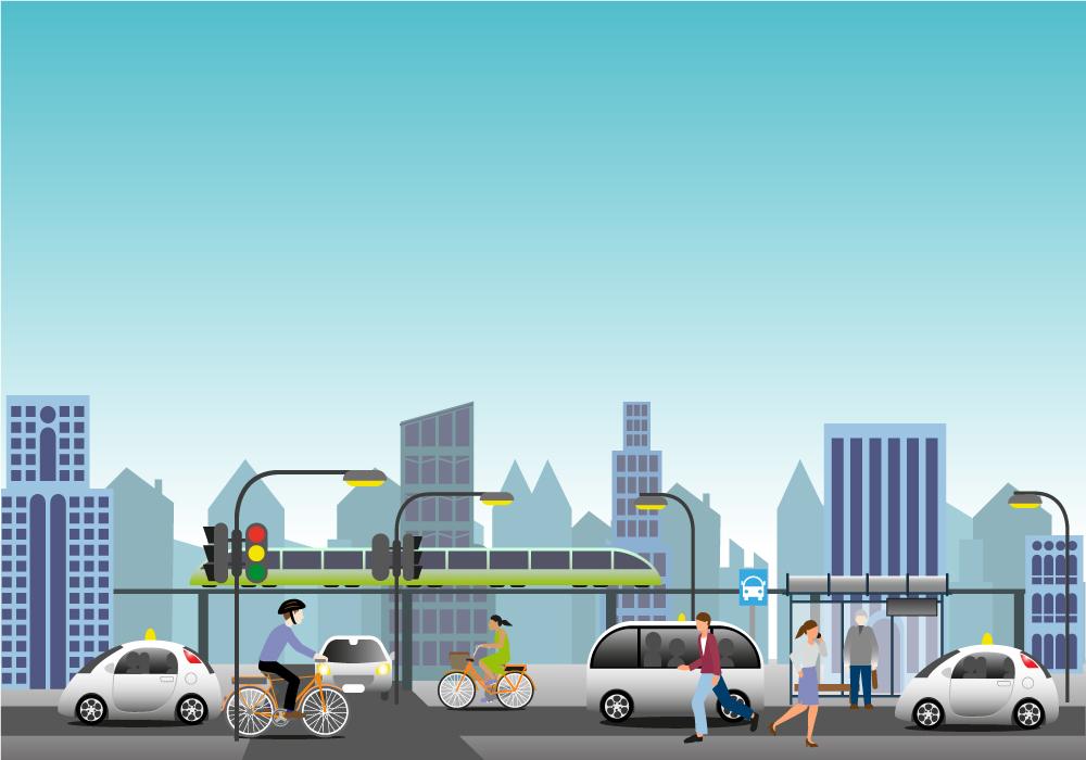 Grafik mit Menschen in der Stadt, bewegen sich fort im Auto, auf dem Fahrrad, zu Fuß