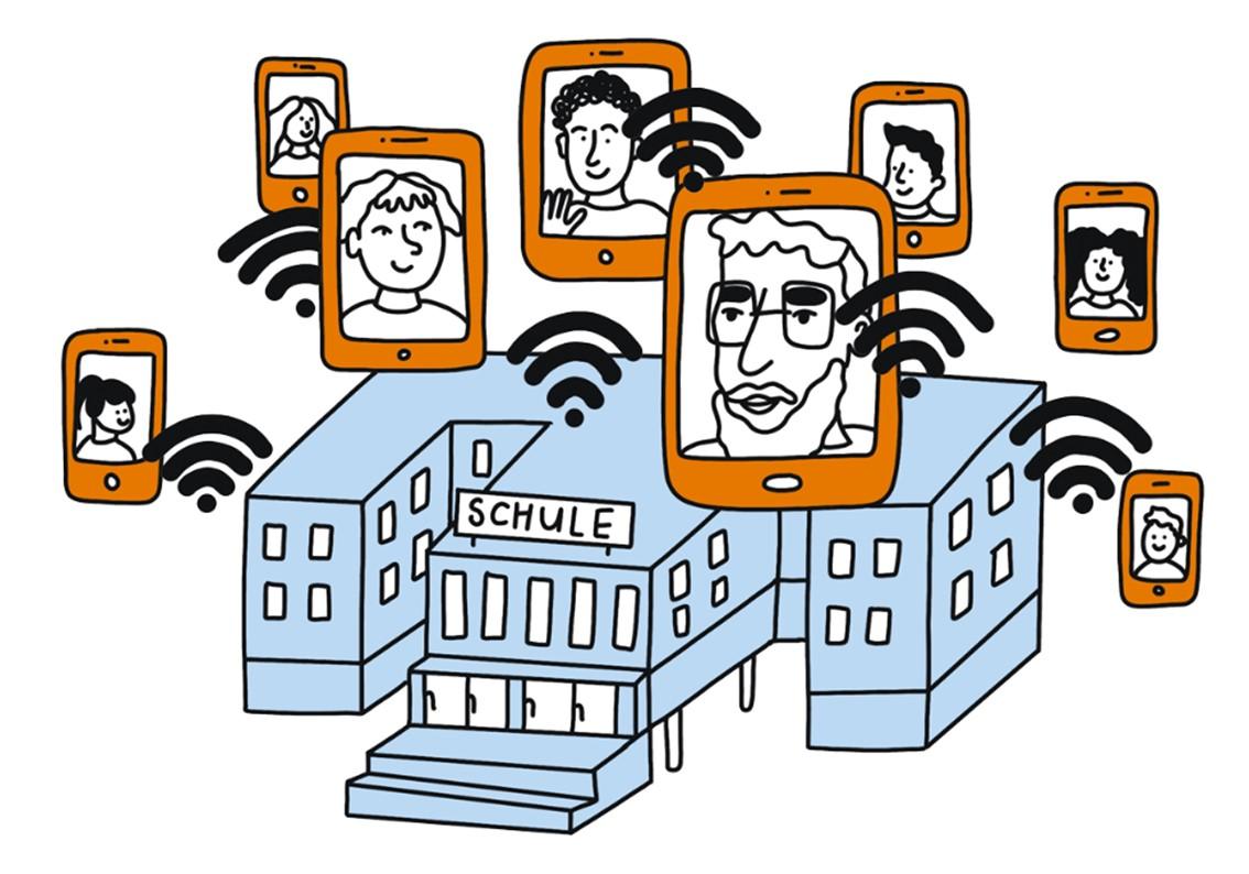 Gezeichnete Grafik mit einer Schule und Smartphones mit Gesichtern drumherum