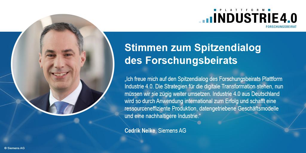 Zitat von Cedrik Neike zum Spitzendialog Industrie 4.0 / acatech