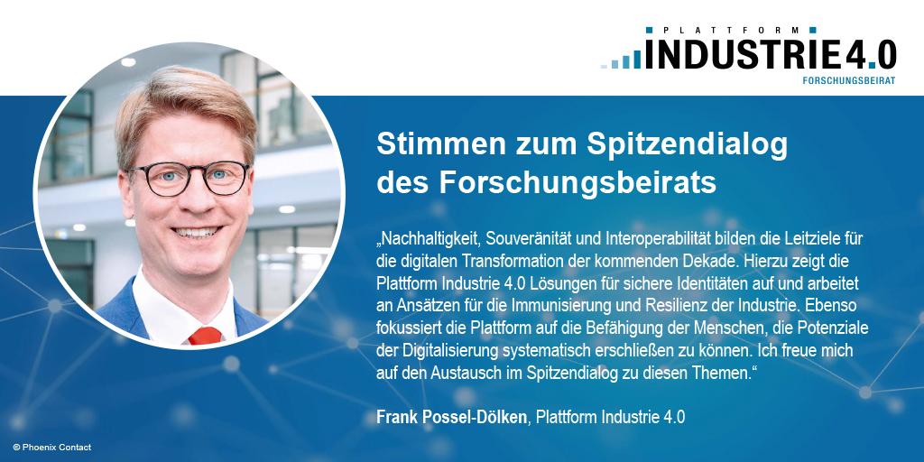 Zitat von Frank Possel-Dölken zum Spitzendialog Industrie 4.0 / acatech