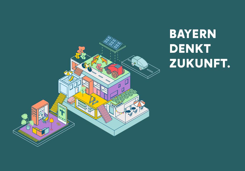 Grafische Darstellung von den Bereichen Wohnen, Pendeln, Arbeiten, Ernähren mit dem Kampagnen-Slogan Bayern denkt Zukunft