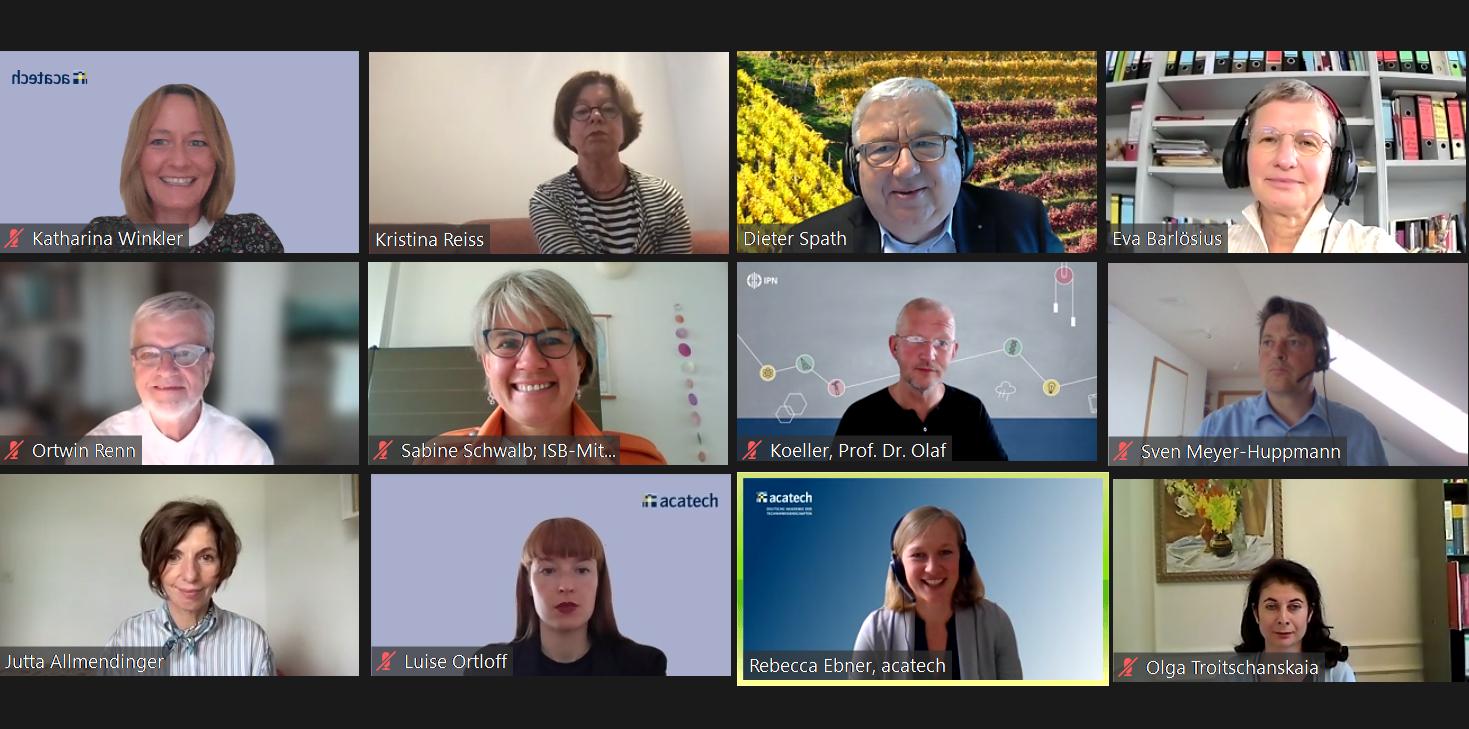 Screenshot aus Videokonferenz mit Teilnehmenden des Online-Workshops