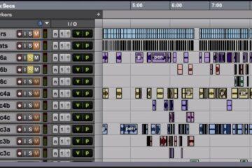 Instrumentenweise Montage von Klangschnipseln.