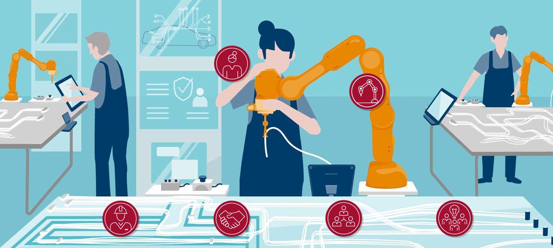 """Illustration von acatech zum Thema """"Lernende Roboter"""""""