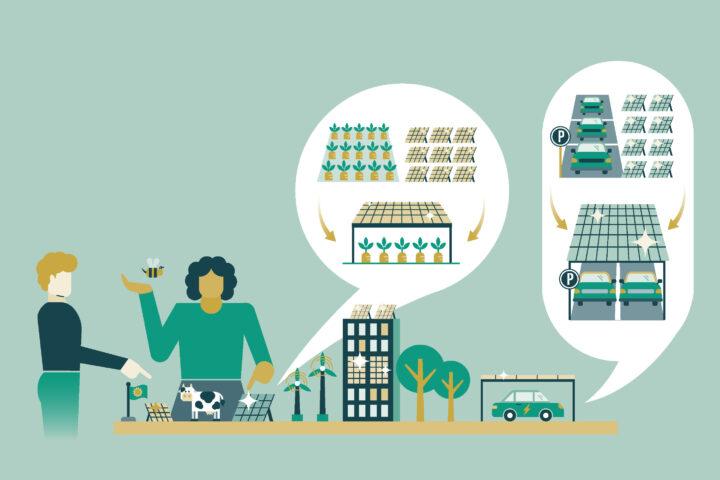 Das Bild zeigt zwei Personen, die an einem Planungstisch stehen und über innovative Kozepte für Photovoltaik sprechen. Zu sehen sind Photovoltaikanlagen über Parkplätzen, einem Gemüsefeld und in eine Hausfront integriert. Copyrighthinweis: Illustration by Ellery Studio